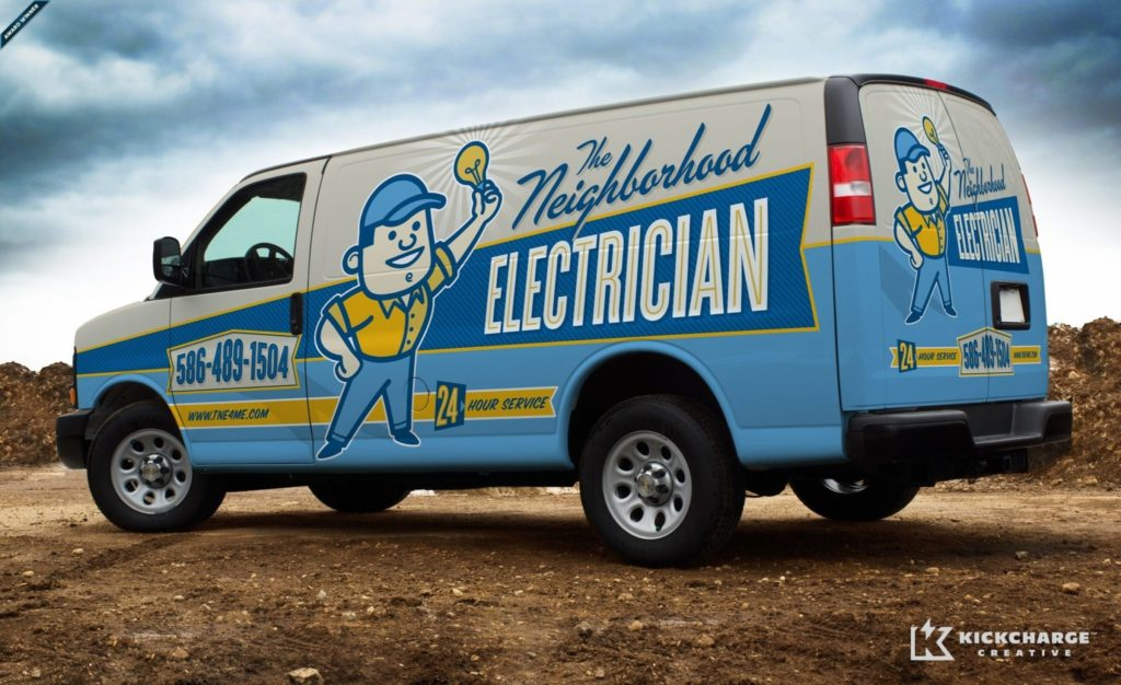 Award winning Retro themed branding and truck wrap design for an electrician in Michigan.
