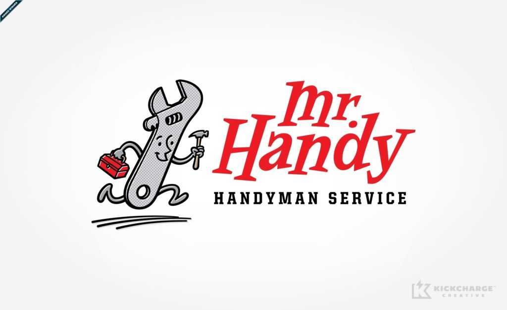Retro and vintage style mascot logo for handyman in Las Vegas, NV, and featured in