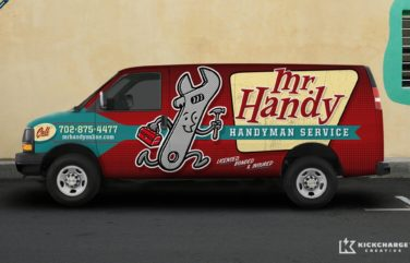Award-winning retro and vintage styled truck wrap design and fleet branding for a handyman in Las Vegas.