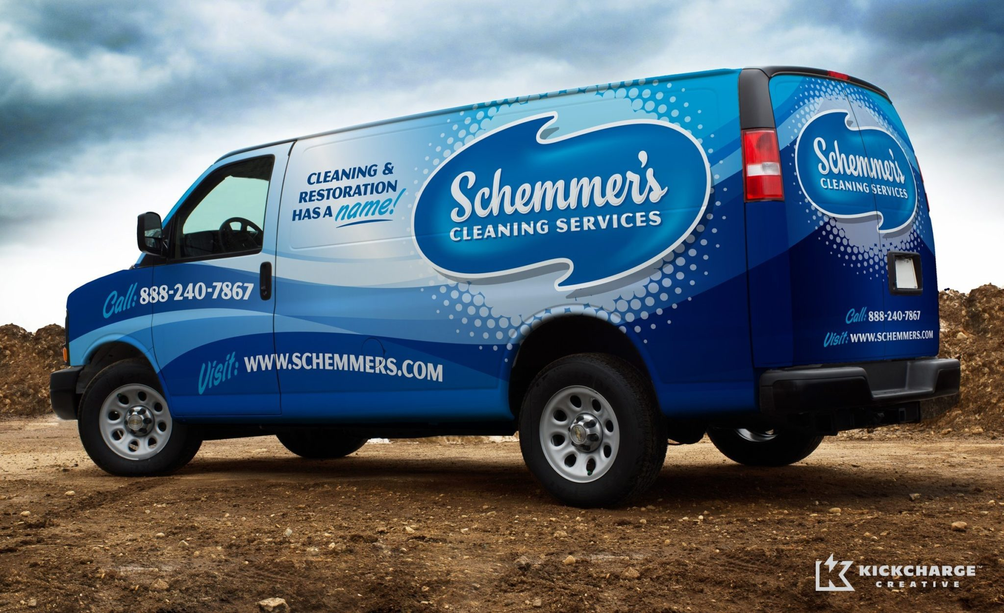 Vehicle wrap design for a cleaning service located in Two Harbors, MN.