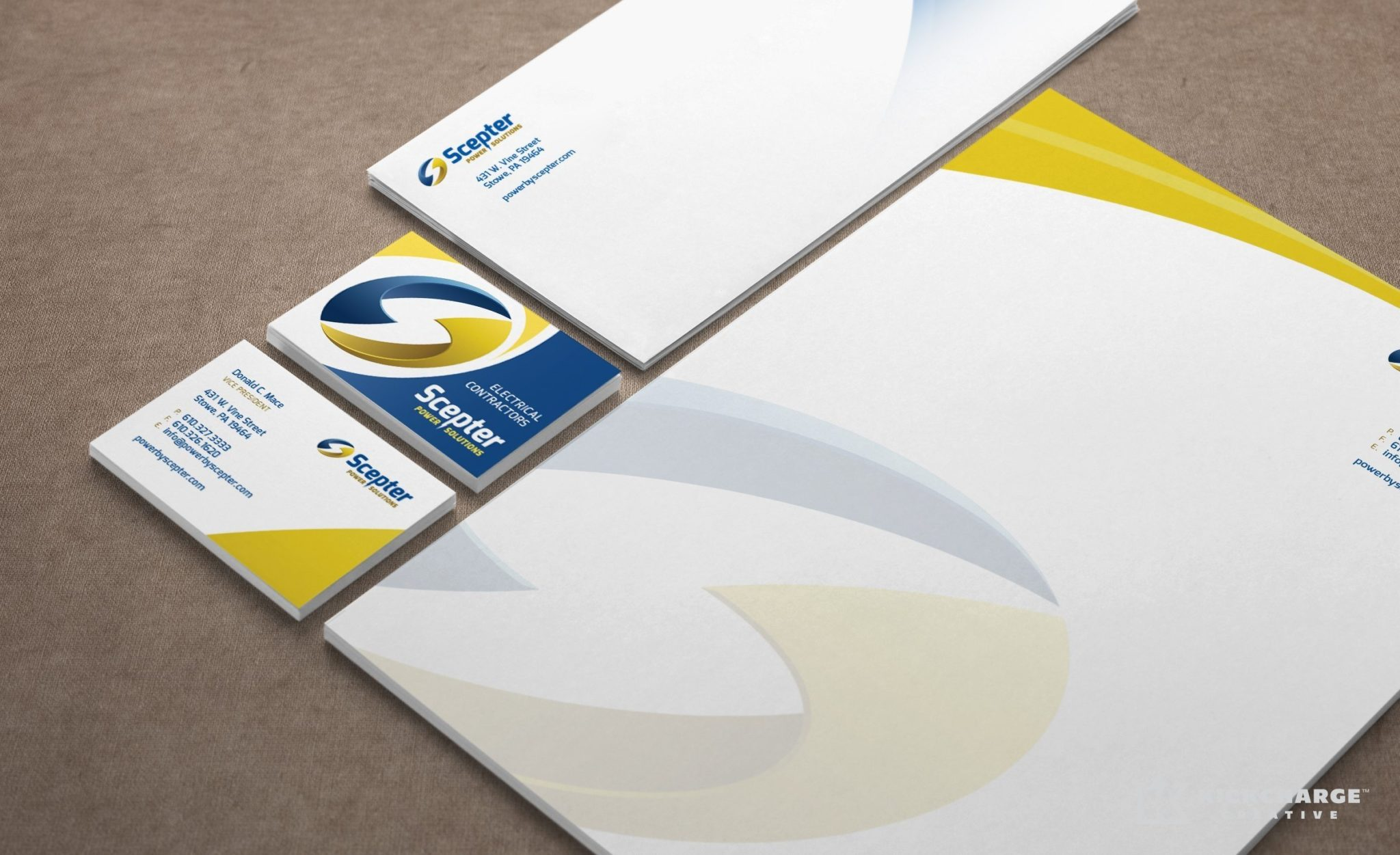 Stationery design for electrical contractors located in Stowe, PA.
