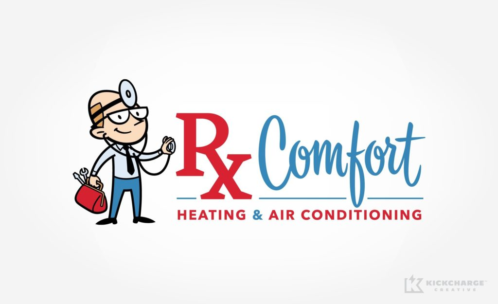 Character driven logo for a heating and AC contractor in Michigan.