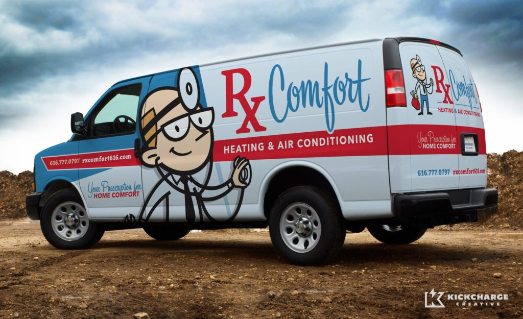 Character driven truck wrap for a heating and AC contractor in Michigan.