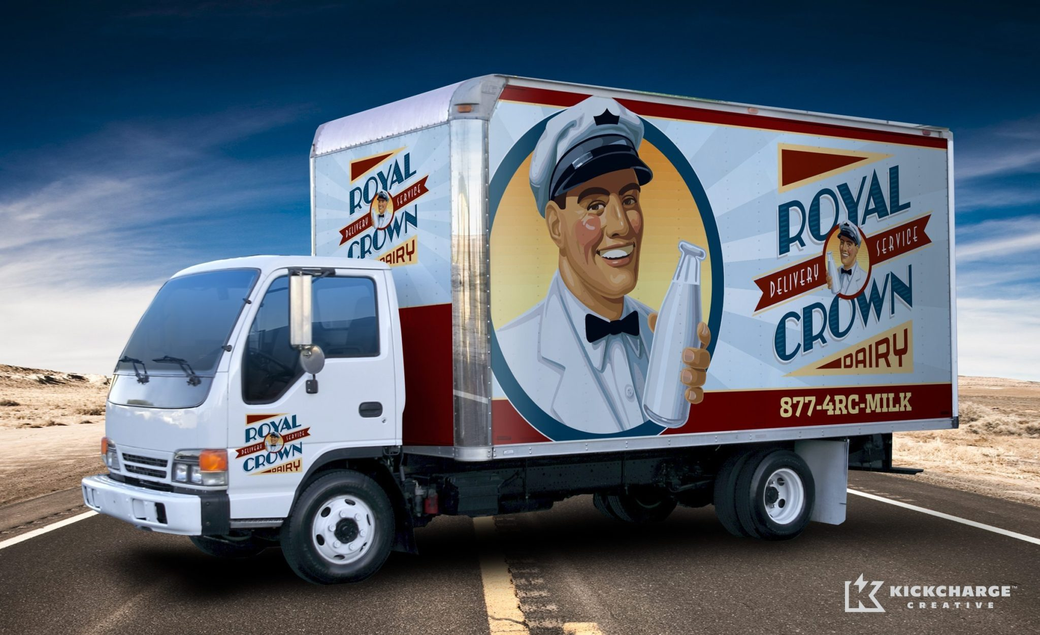 Retro truck wrap design for a milk delivery service in Parsippany, NJ.