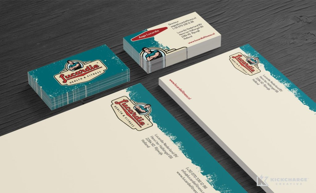 Retro themed branding and stationery design for a fitness club located in Holland.