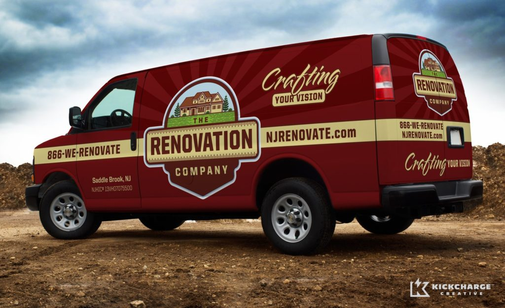 Vehicle wrap design for a home remodeling company in Saddle Brook, NJ.