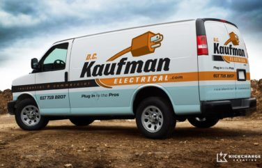 Truck wrap and branding design for electrical contractor in Massachusetts.