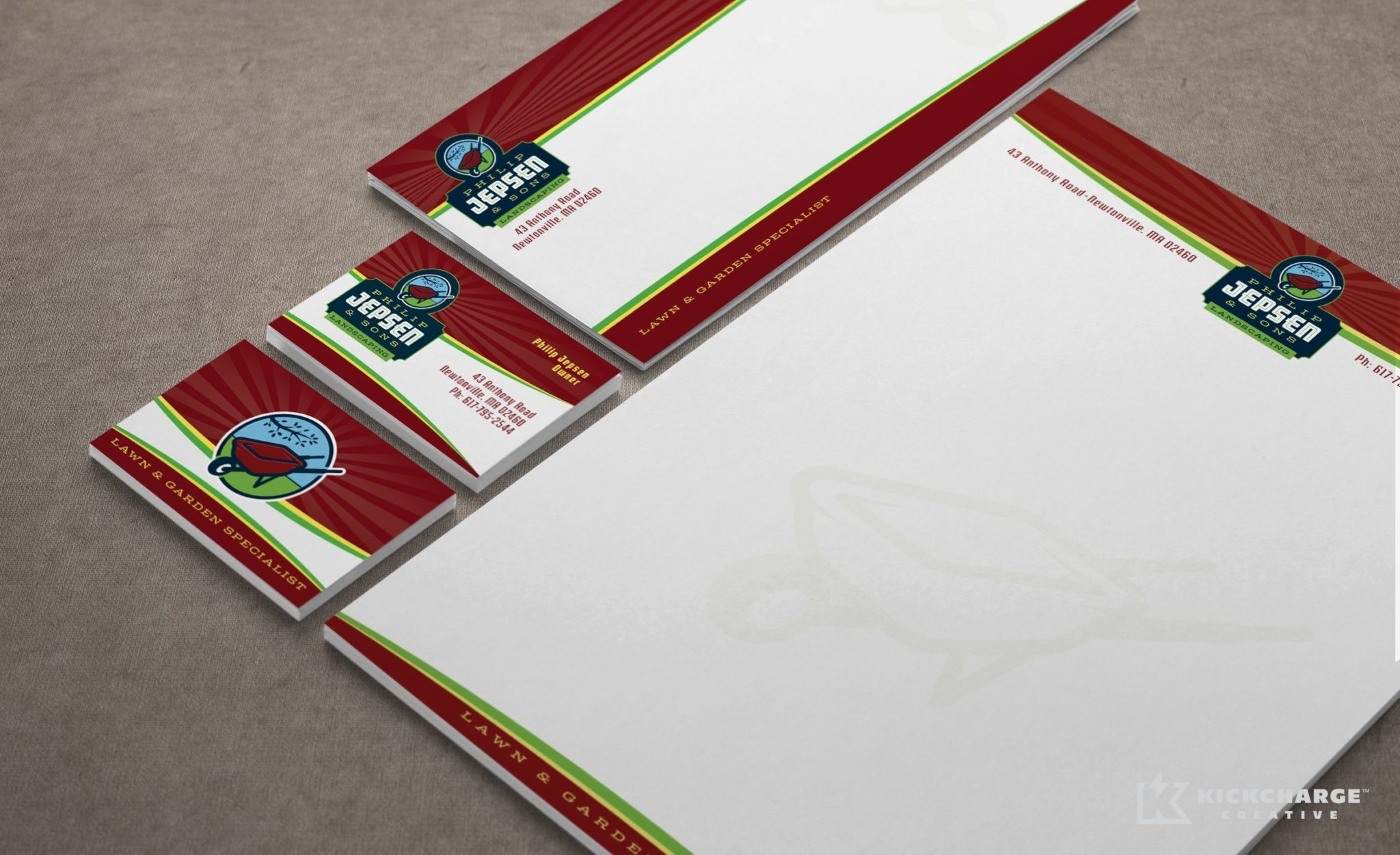 Stationery design for a property maintenance firm in Massachusetts.
