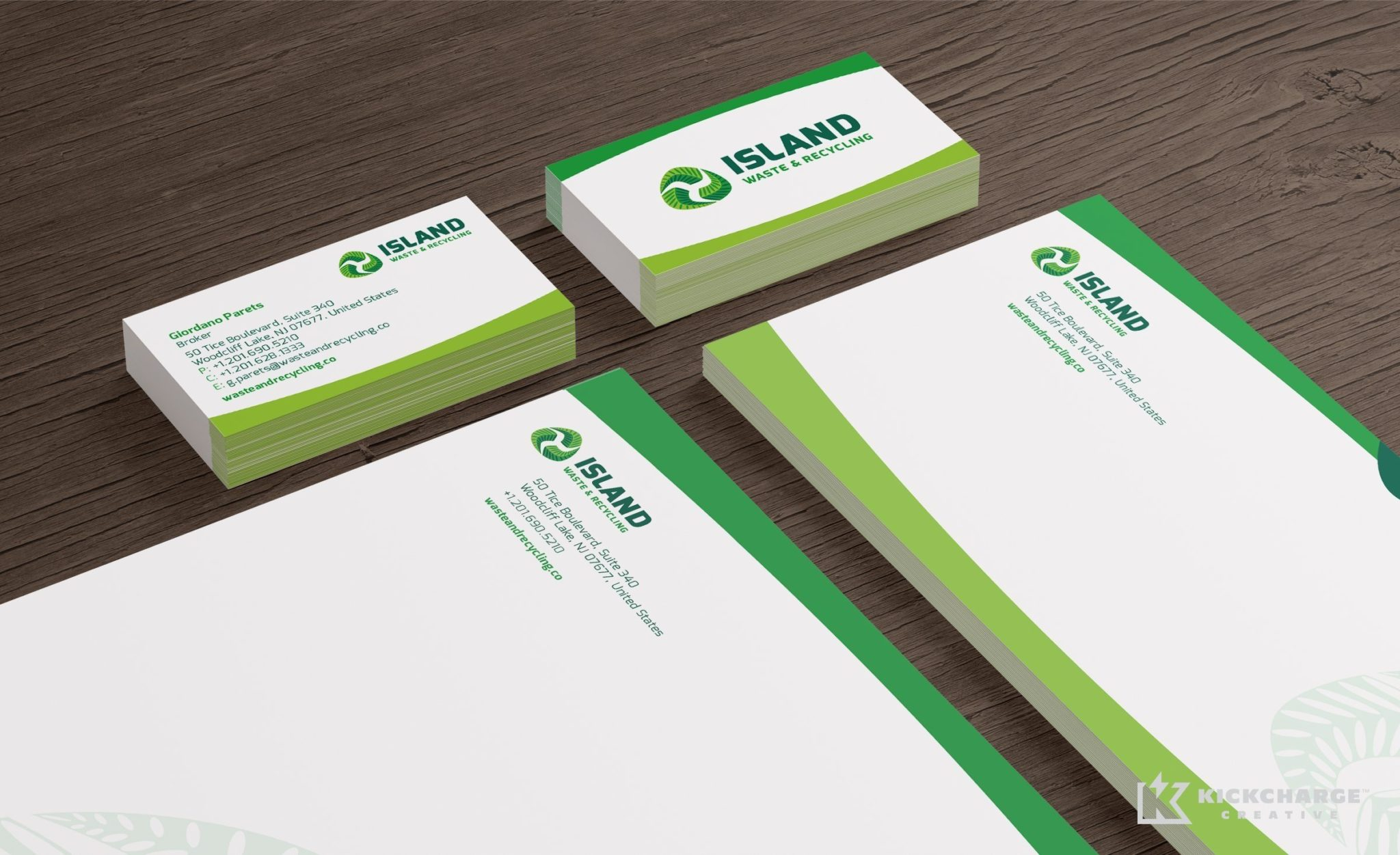 Branding and stationery design for a waste and recycling brokerage firm located in Woodcliff Lake, NJ.