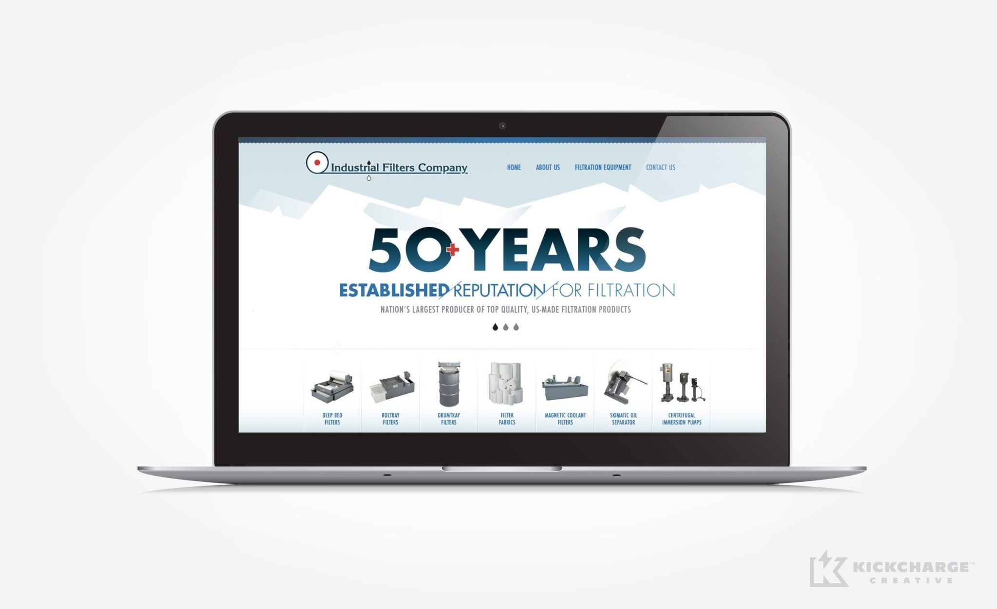 Web design for a filtration manufacturer located in Fairfield, NJ.