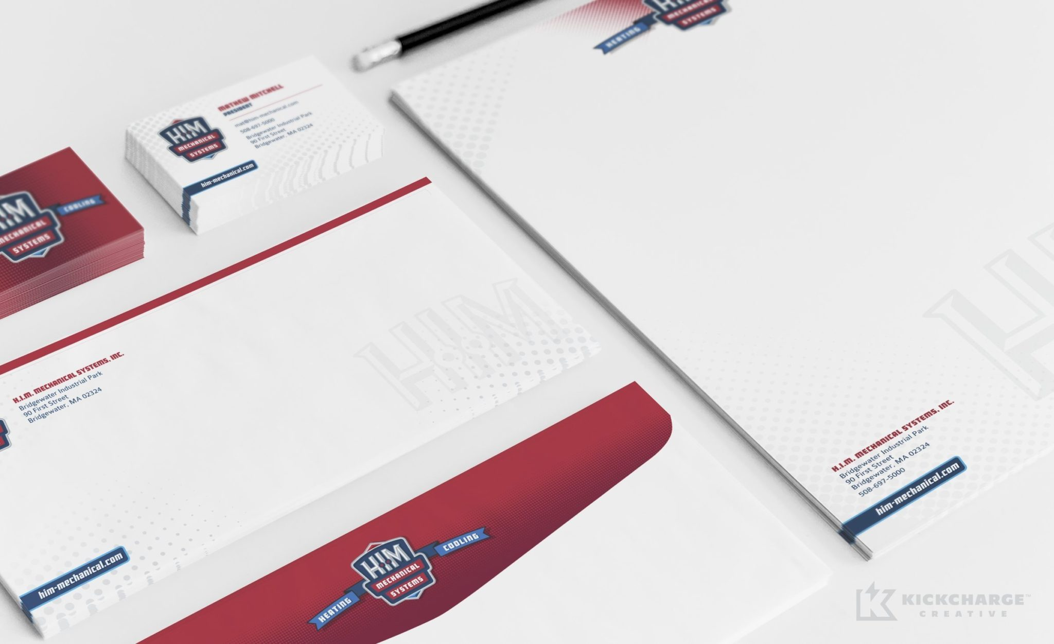 Stationery design and brand development for an HVAC contractor located in Bridgewater, MA.