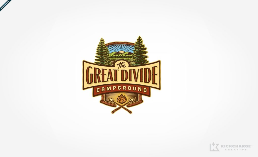Custom illustrated logo design for a campground in Newton, NJ.