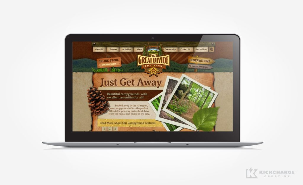 Web design for a campground located in Sussex County, NJ.