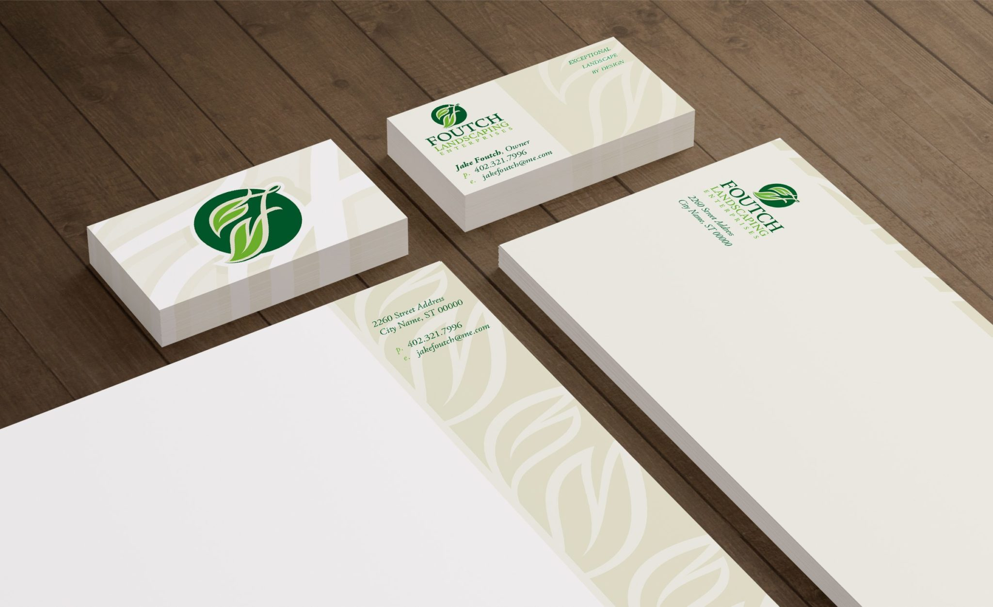Stationery design for a landscaping company in Omaha, NE.