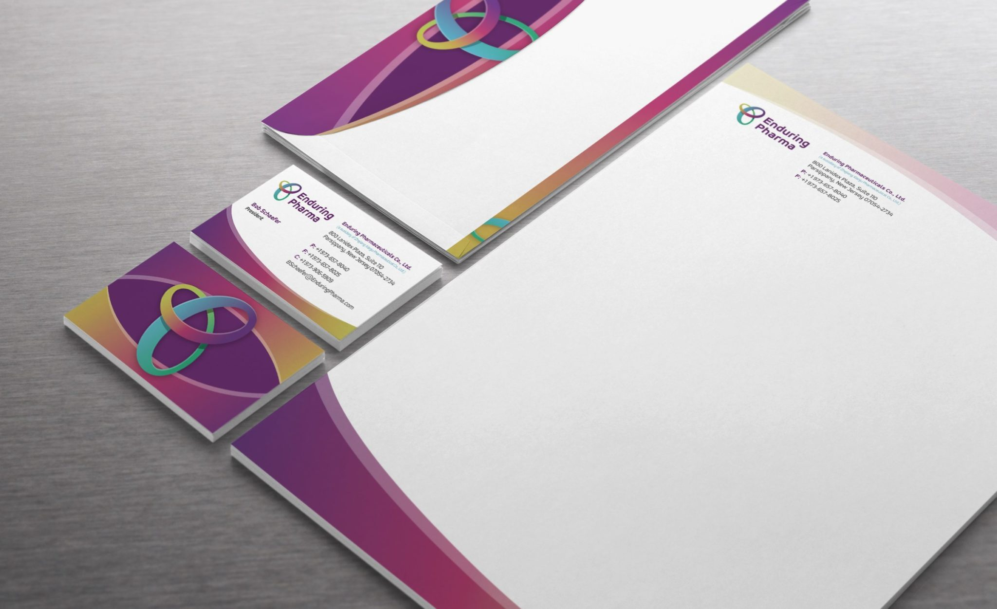 Stationery design for a pharmaceutical company in New Jersey.