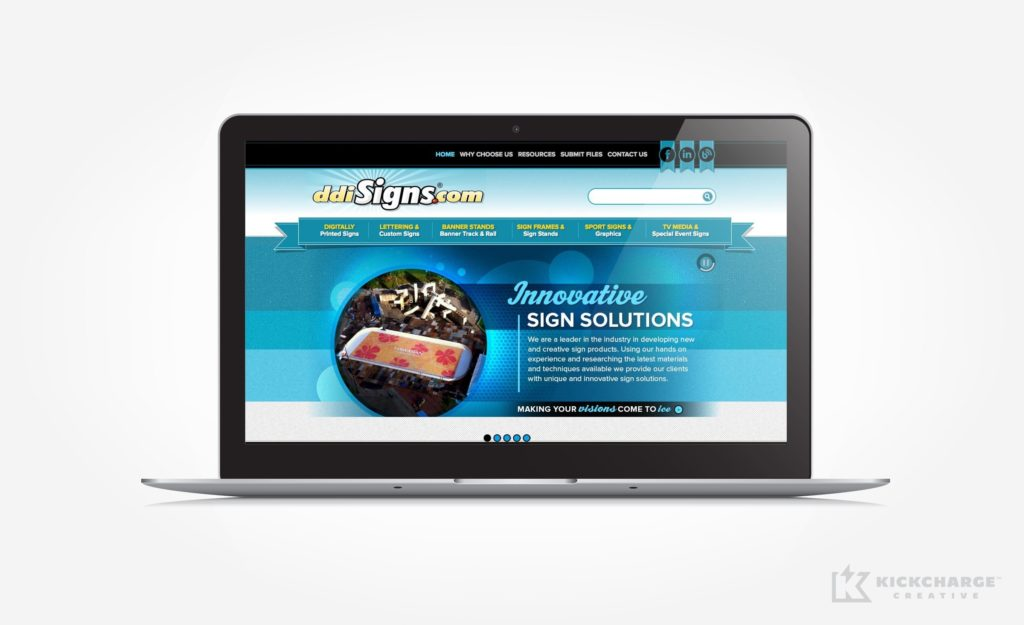 Website design for a sign company in North Carolina.