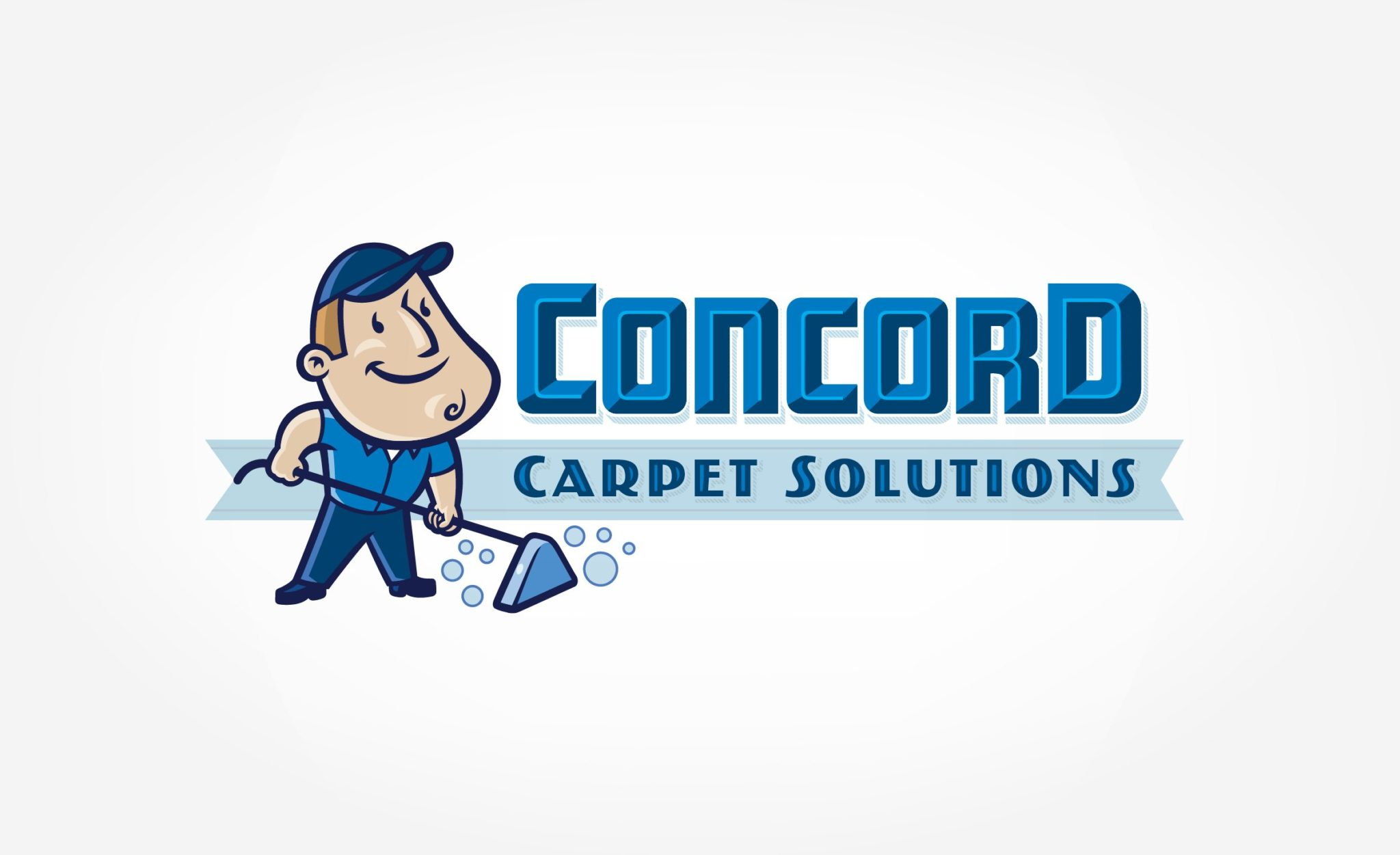 Retro themed logo design and character development for a carpet cleaning business in Florida.