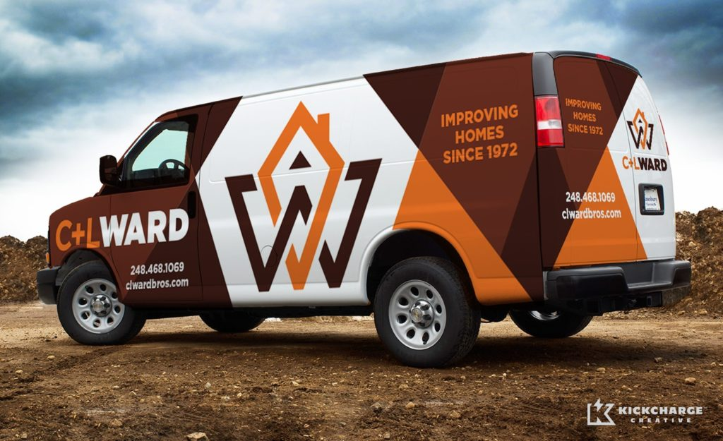 Proposed fleet branding for a home remodeling company.