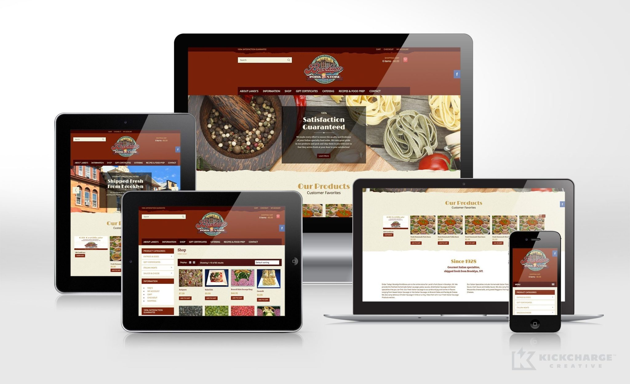 Website design for an Italian pork store in Brooklyn, NY.