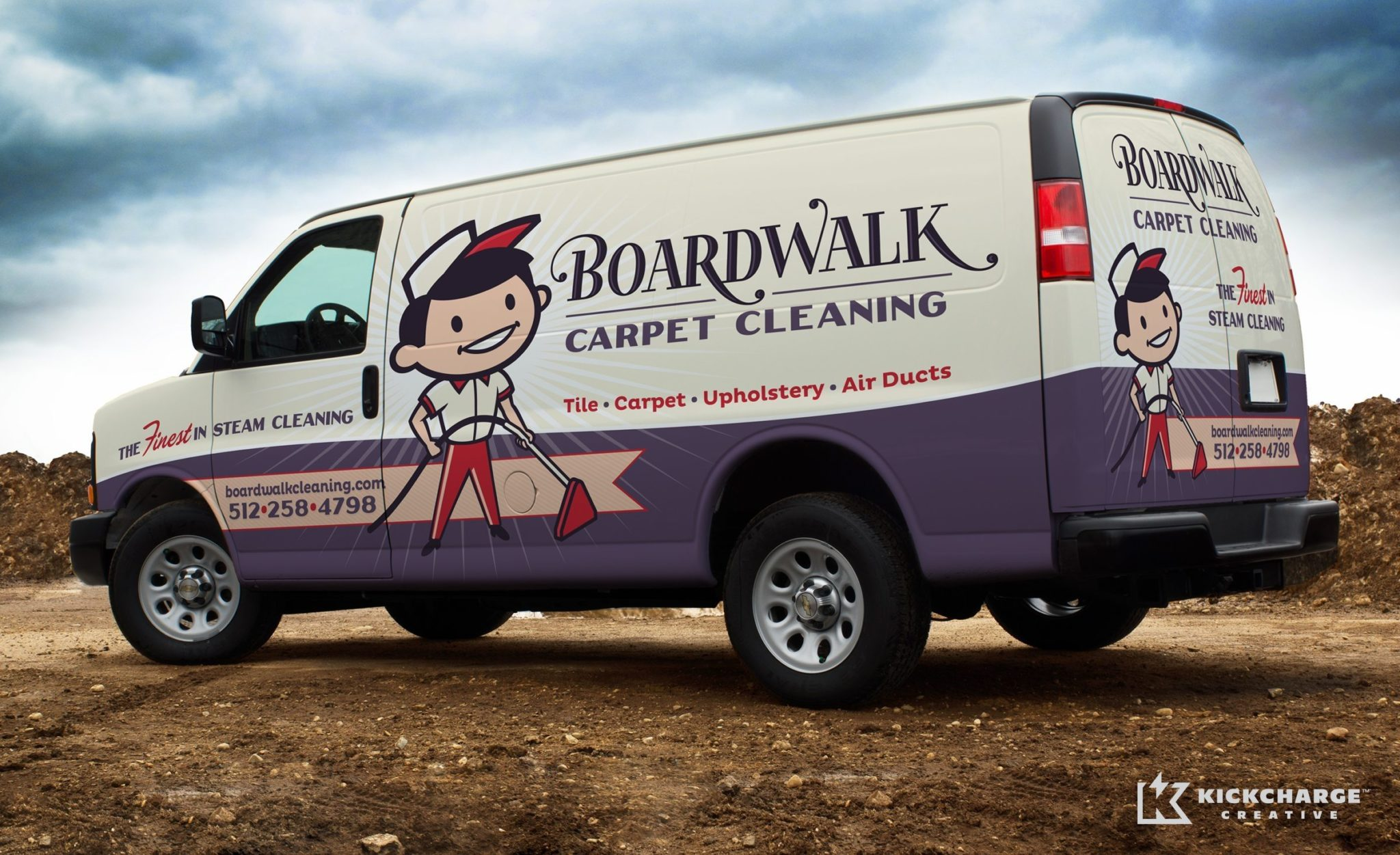 Retro themed truck wrap for a cleaning company in Texas.