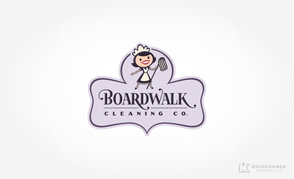 Retro themed logo example for a cleaning company in Texas.