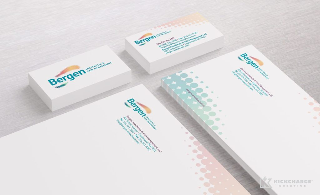 Stationery design and printing for Bergen Anesthesia & Pain Management.