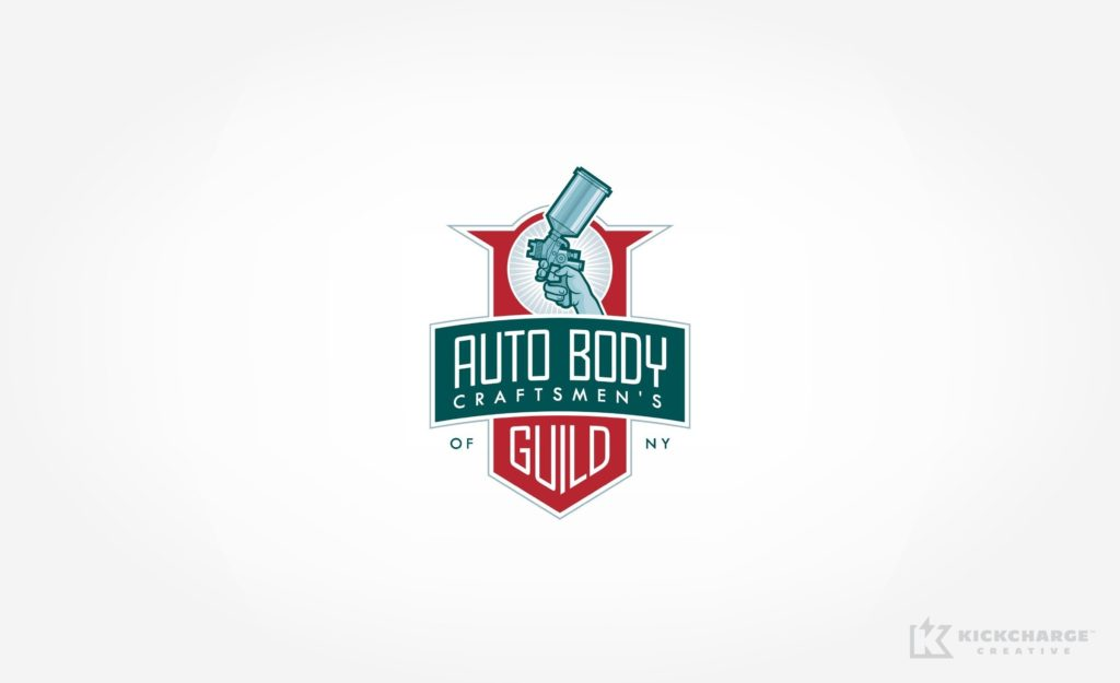 Retro-styled logo design for an association of automotive restoration professionals in New York.