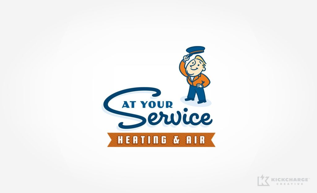 Vintage style logo design for heating and air company in South Carolina.