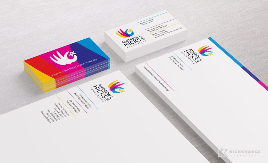Stationery design and printing for Andrew Hicks Jr Foundation.
