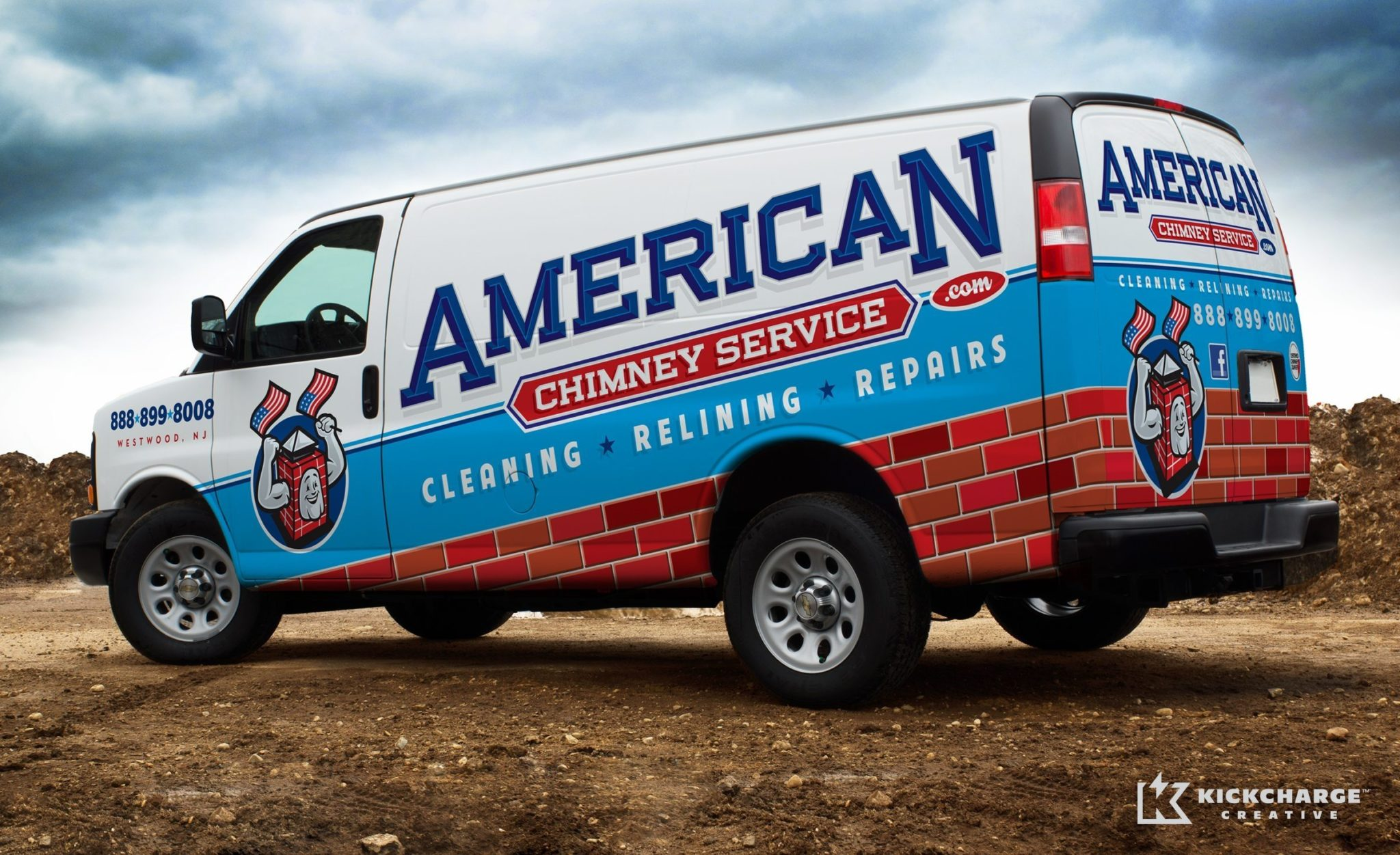 Fleet advertising and truck wrap design for this NJ chimney contractor.