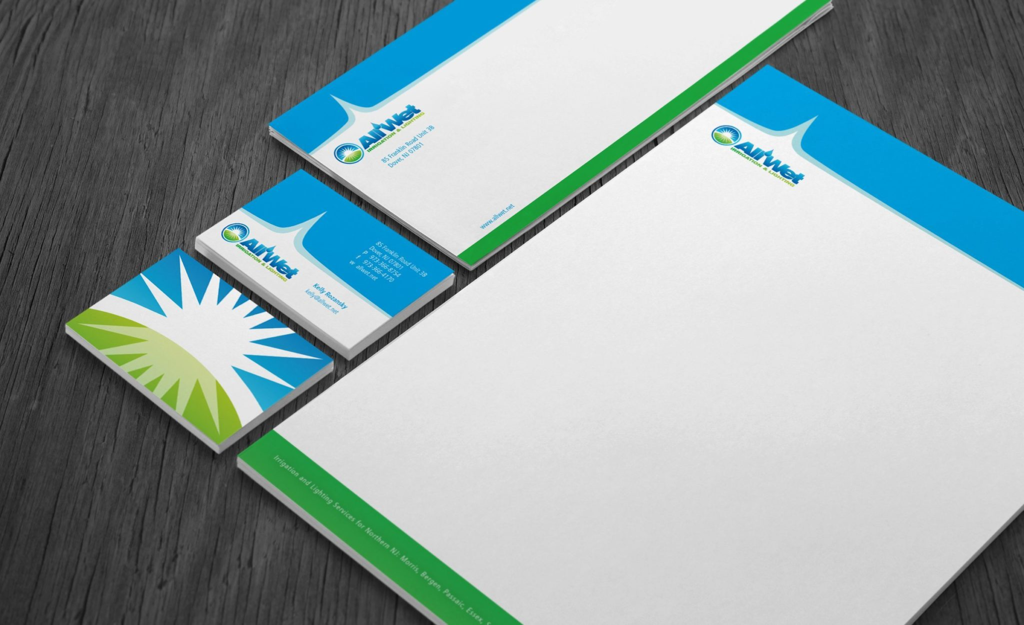 Stationery design and printing for All Wet Irrigation.