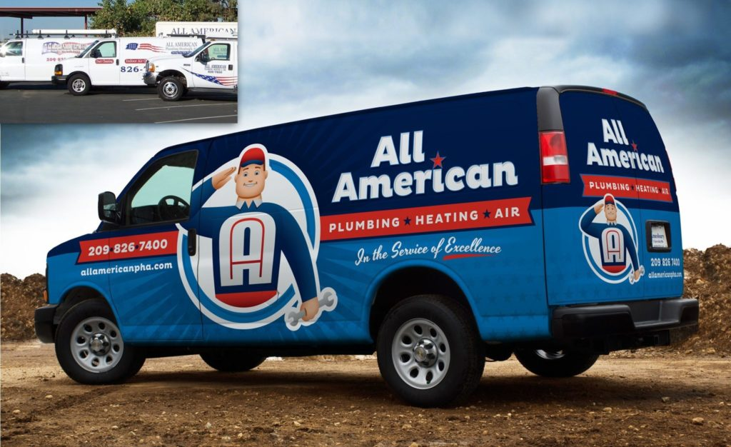 Before & after retro-themed fleet branding integrated on a wrap design for this California heating and air contractor.