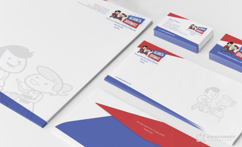 Stationery design and printing for Alianza Idiomas.
