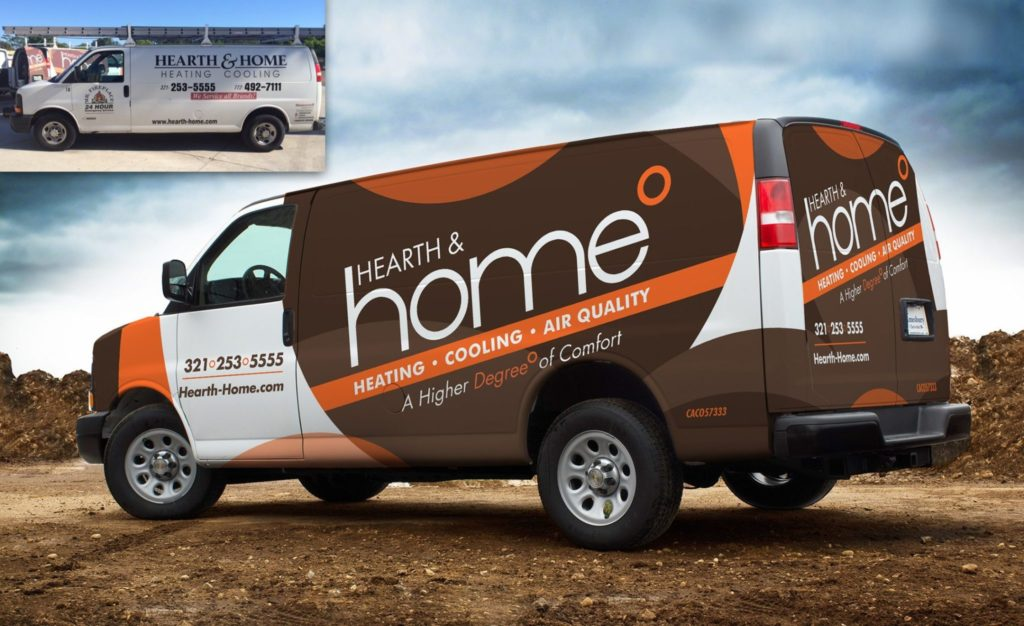 Before & after truck wrap for Hearth & Home, an HVAC contractor.