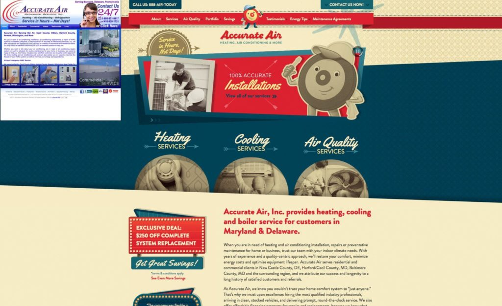 Before & after website design for Accurate Air.