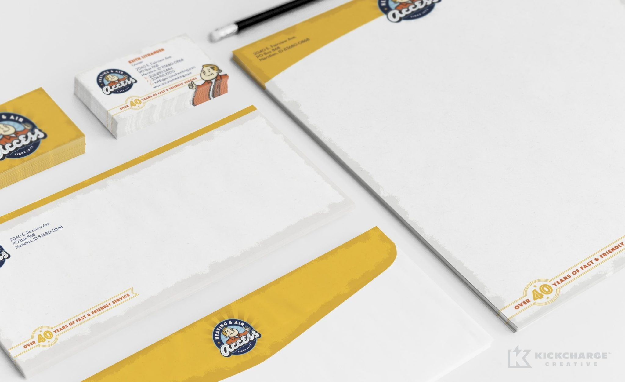 Stationery design for an HVAC contractor in Idaho.