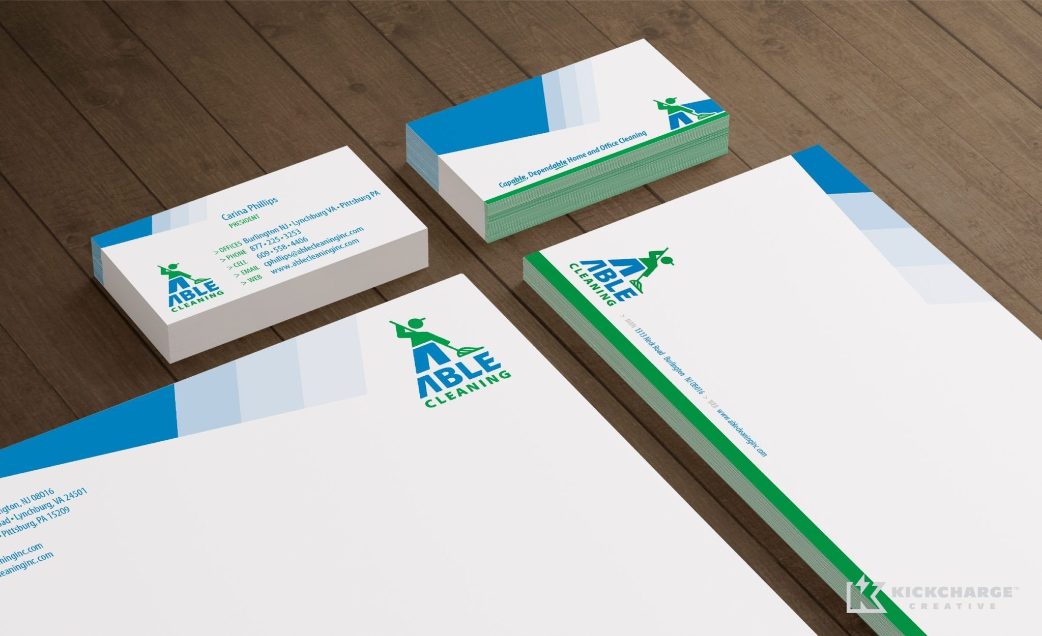 Stationery design and printing for Able Cleaning.