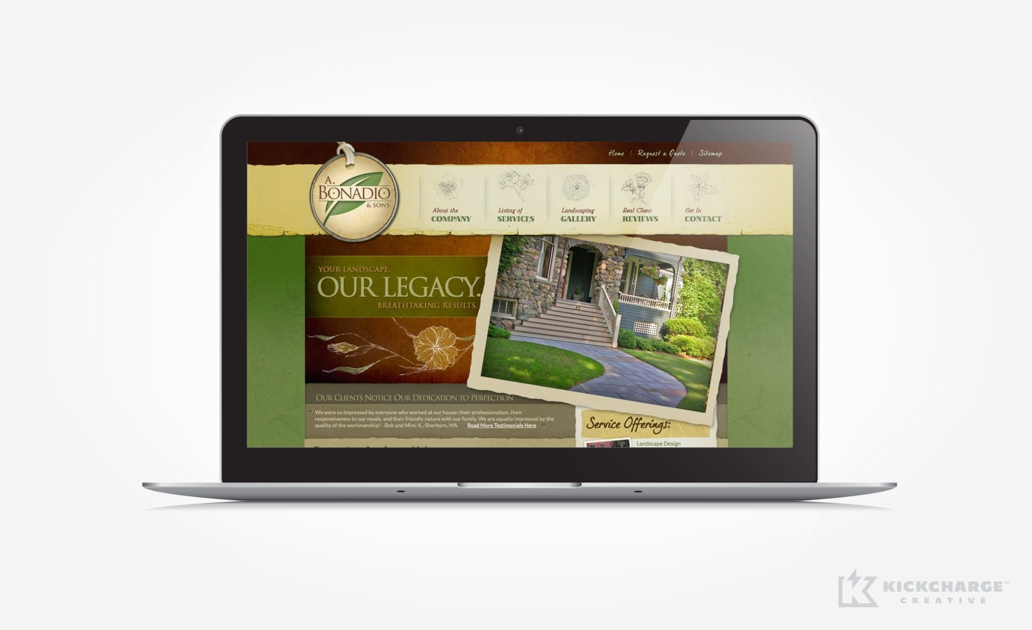 Website design for a Massachusetts based landscaping company.