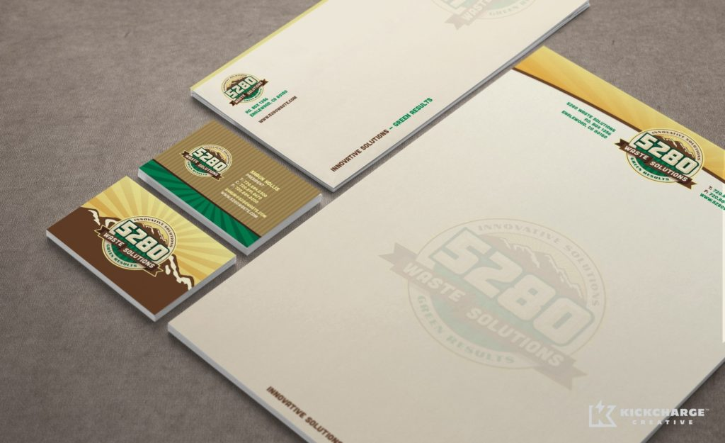Stationery design and printing for 5280 Waste Solutions.