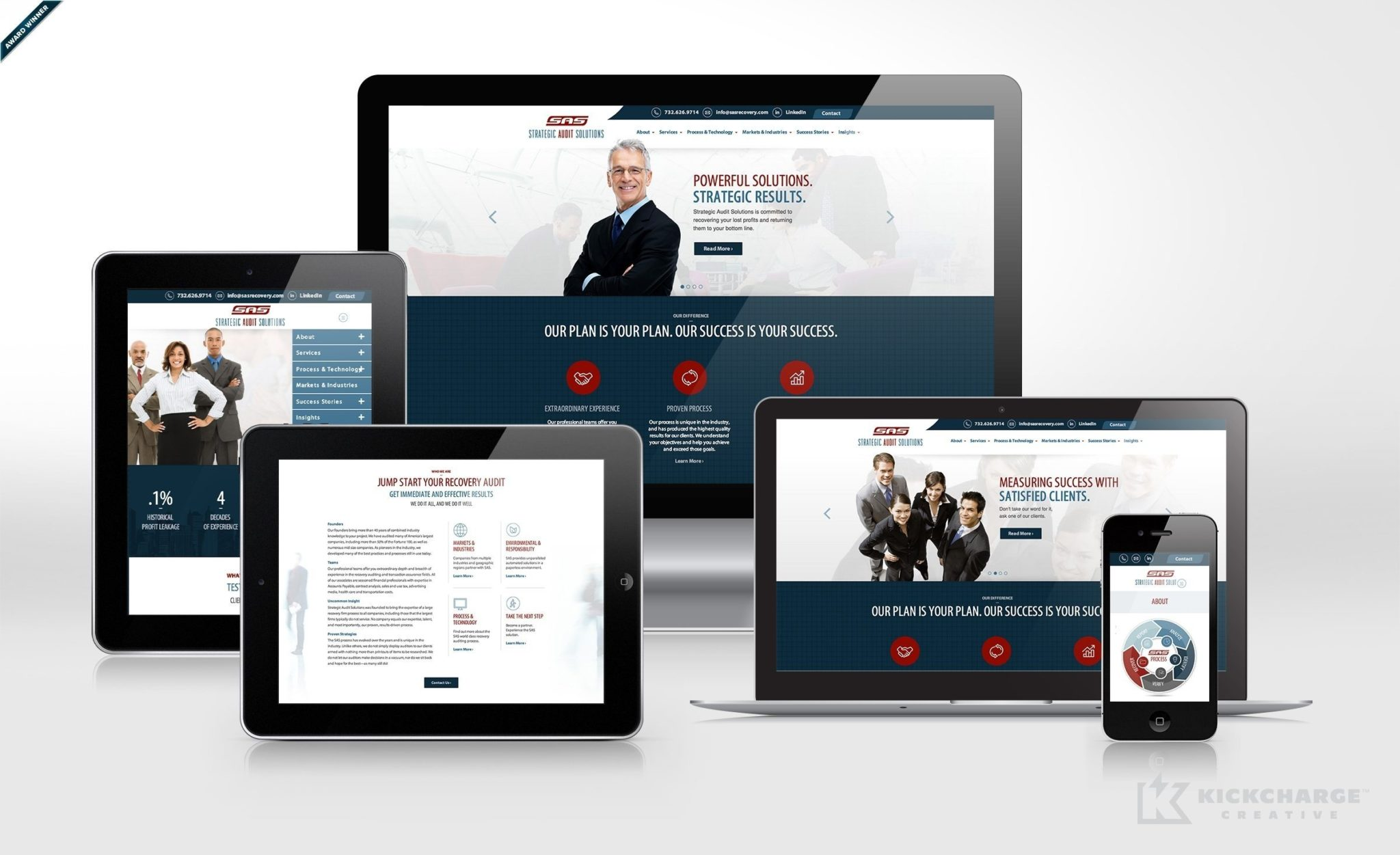 Award winning website design and development for this recovery audit firm. Winner of Website Design: B2B in the 2014 NJ Ad Club Jersey Awards.