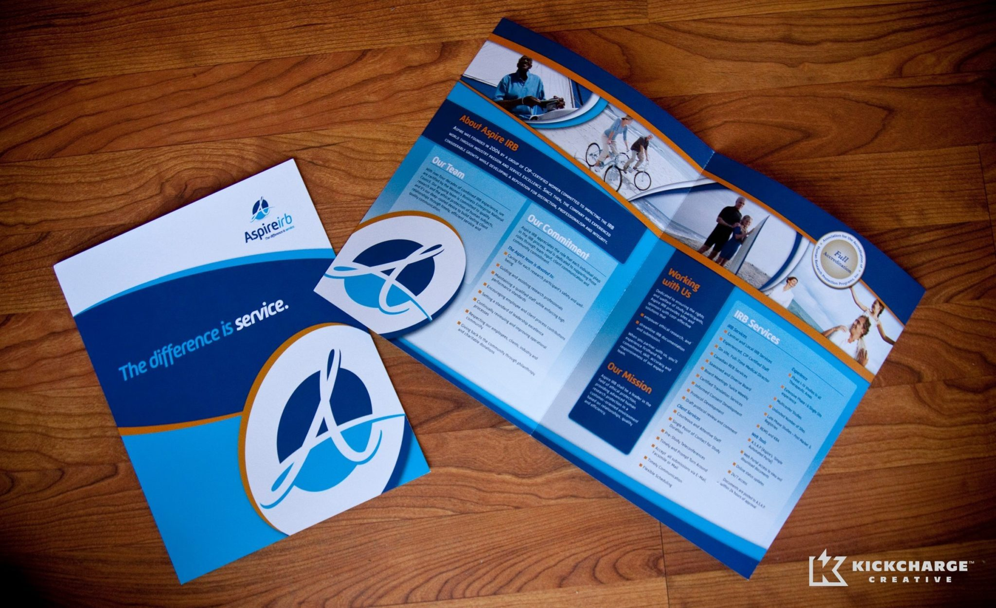 Print design for a company in La Mesa, California that promotes research in healthcare.