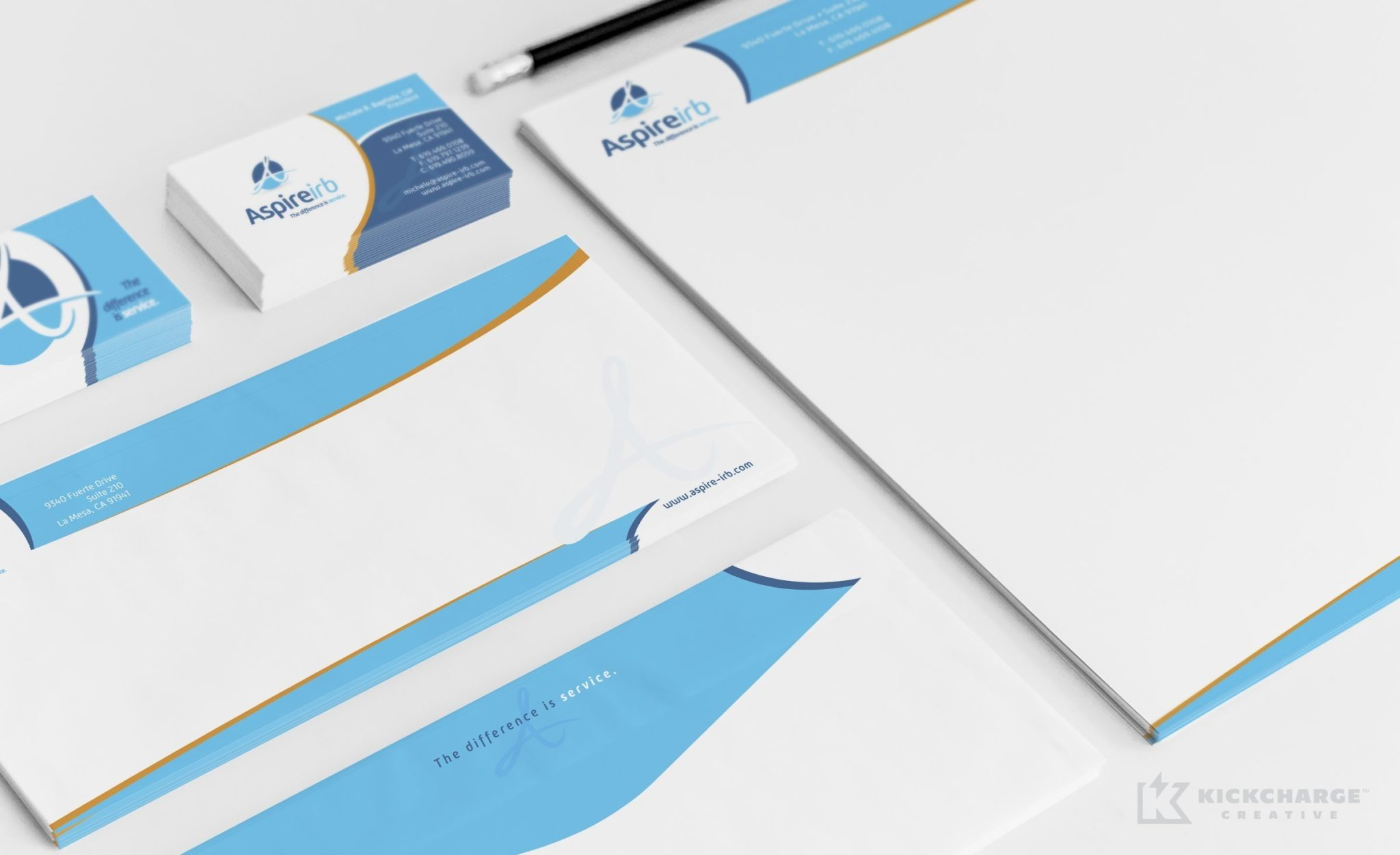 Collateral and stationery design for a company in La Mesa, California that promotes research in healthcare.
