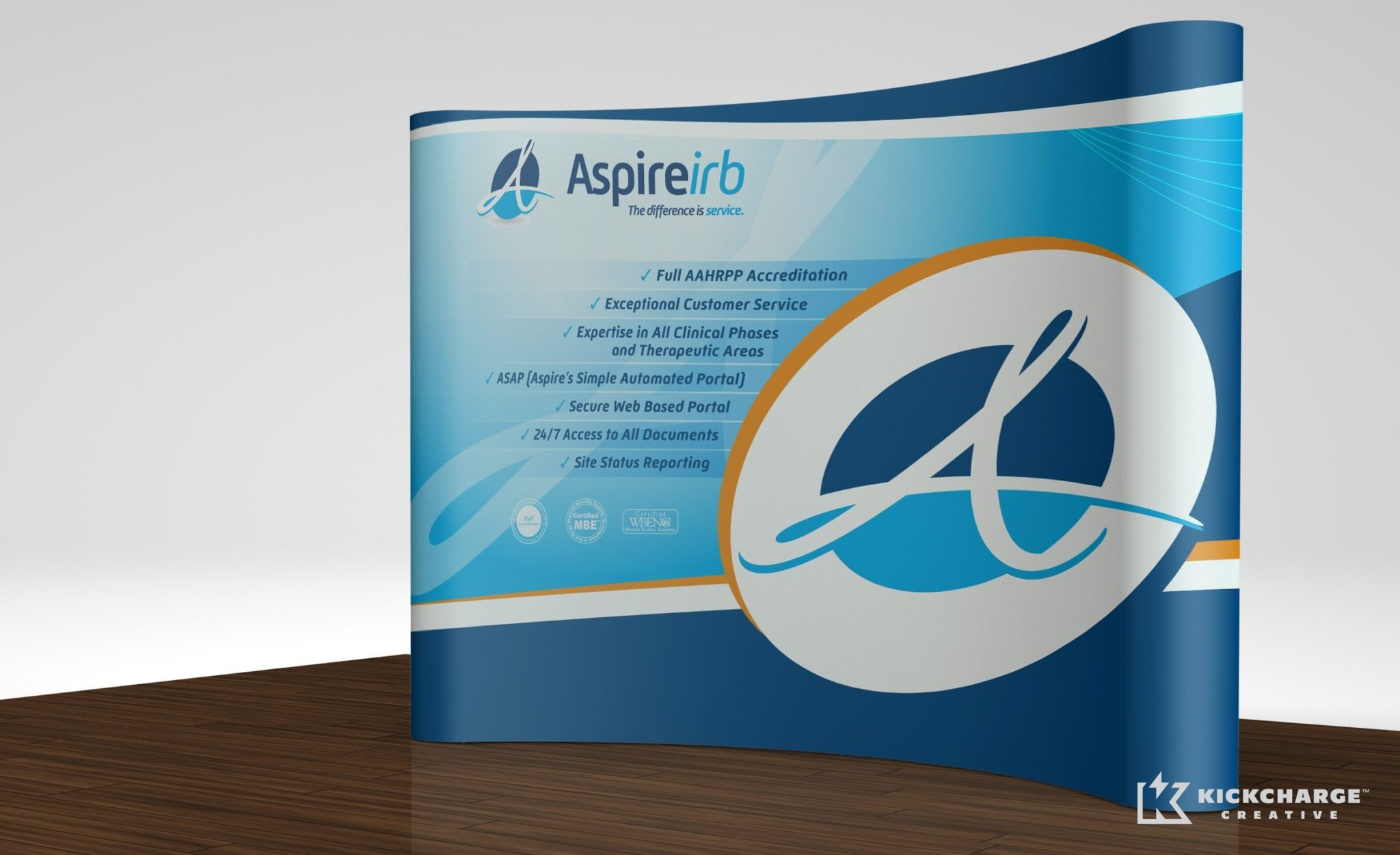 Booth design for a company in La Mesa, California that promotes research in healthcare.