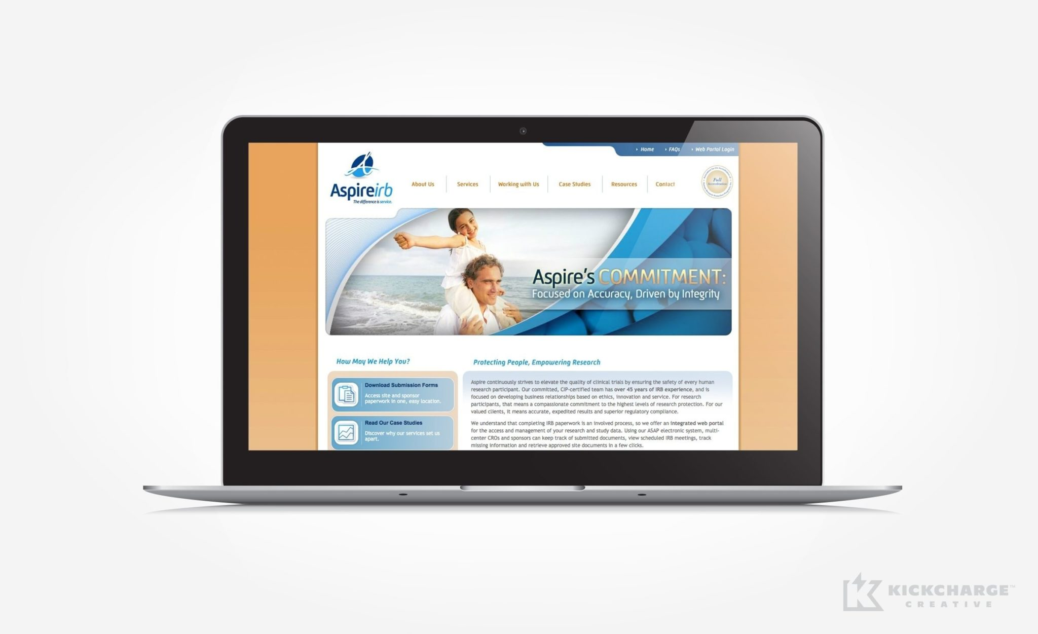 Website design for a company in La Mesa, California that promotes research in healthcare.