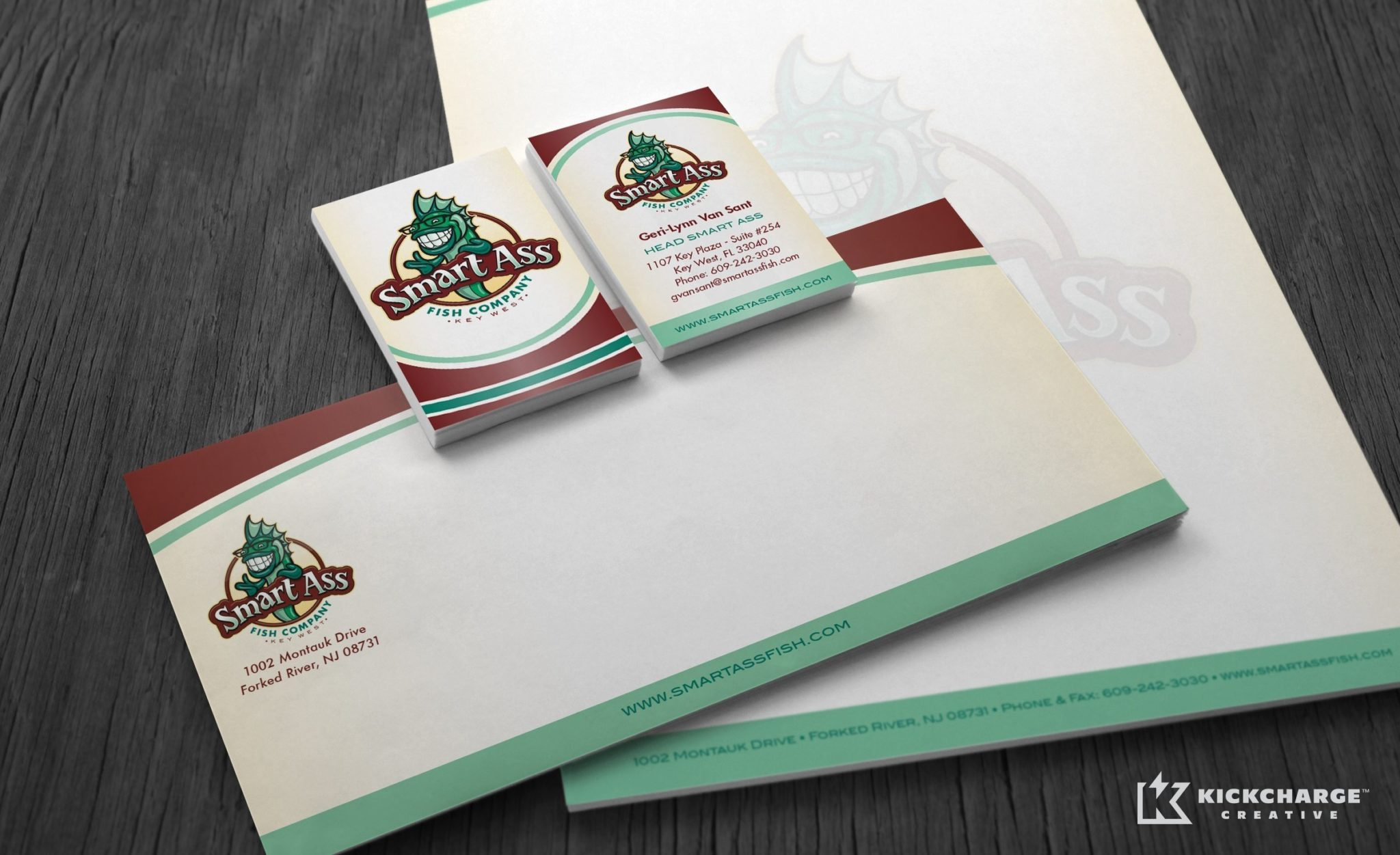 Stationery design and printing for Smart Ass Fish Company.