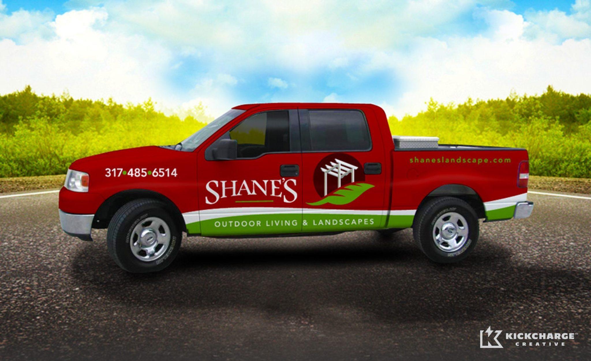 Vehicle wrap design for a premier landscape provider in Indiana.