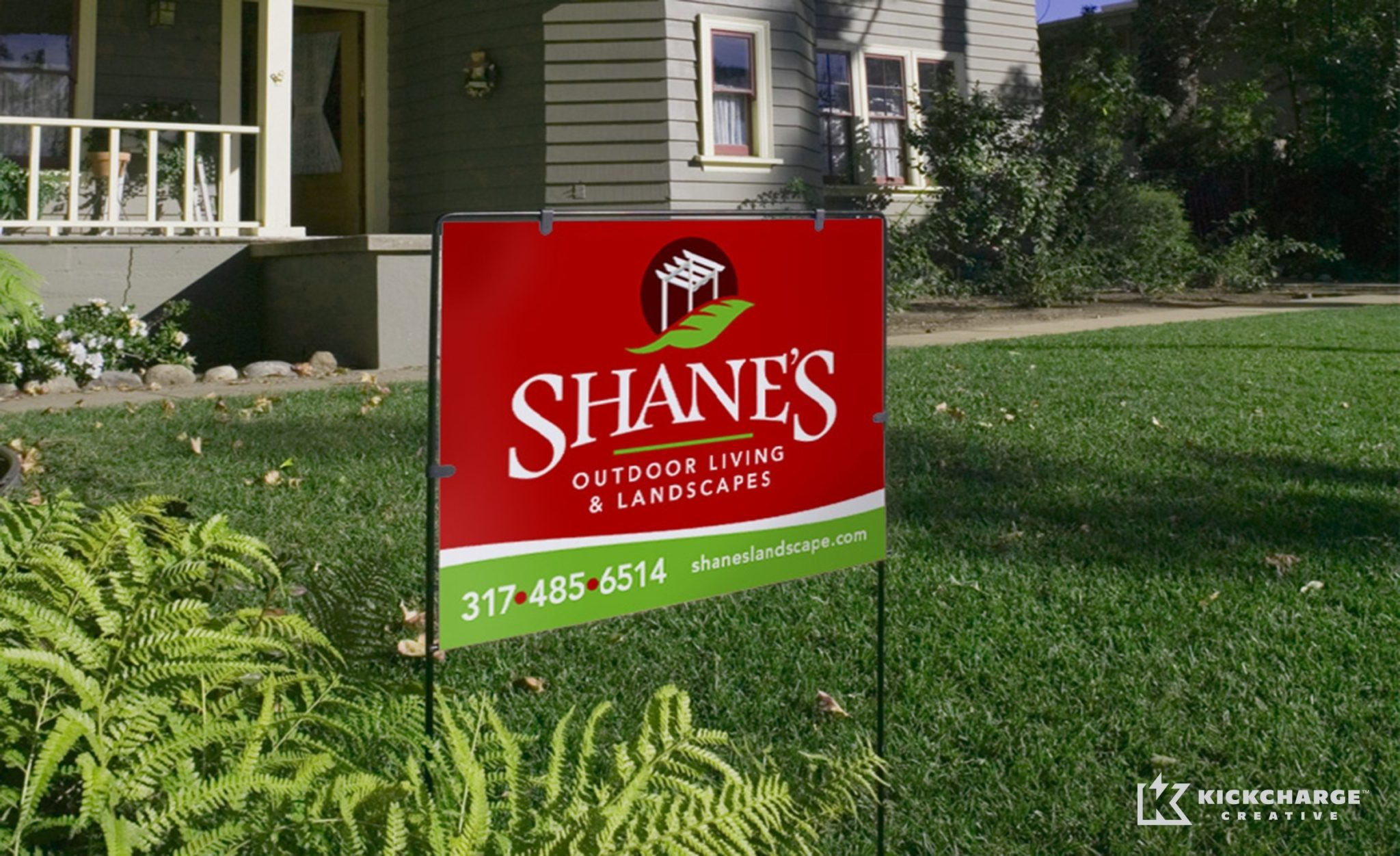 Yard sign design for a premier landscape provider in Indiana.