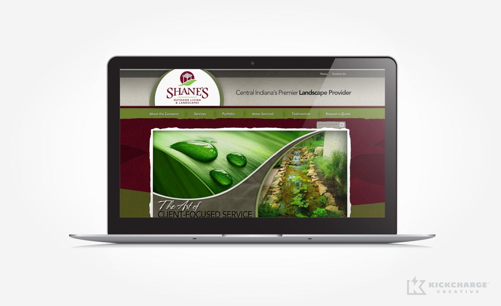 Website design for a premier landscape provider in Indiana.