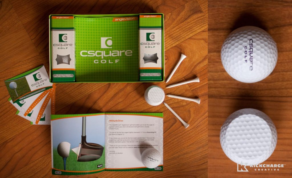 Product packaging design and conceptualization for CSquare Golf.