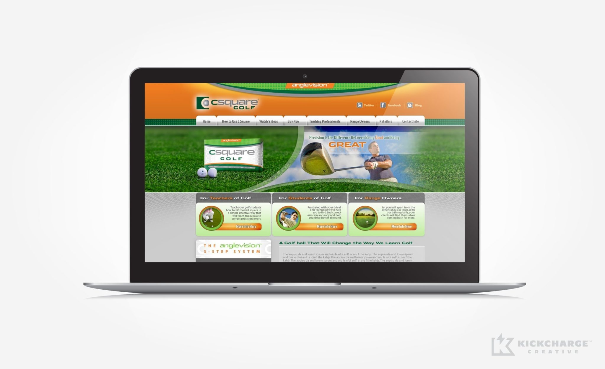 Website design for CSquare Golf.